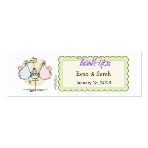 Twin Babies Stork Favor Tag Business Cards
