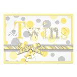 Twin Babies Yellow Gray Dots Baby Shower Custom Invitation