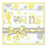 Twin Babies Yellow Gray Dots Baby Shower Invitation