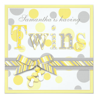 Twin Babies Yellow Gray Dots Baby Shower 5.25x5.25 Square Paper Invitation Card