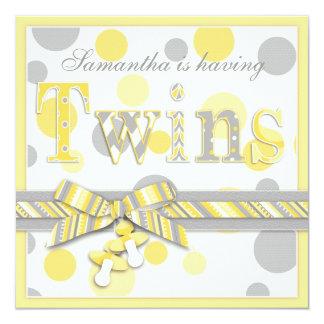 Twin Babies Yellow Gray Dots Baby Shower Custom Invites