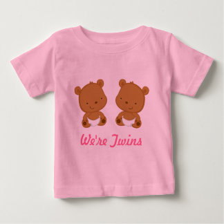 Twin Baby Bear Design In Pink On Infant Tee