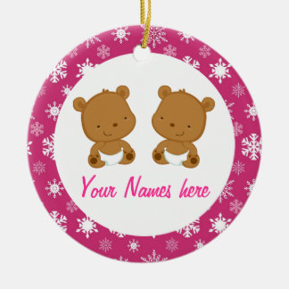 Twin Baby Bear Pink Keepsake Gift Double-Sided Ceramic Round Christmas Ornament