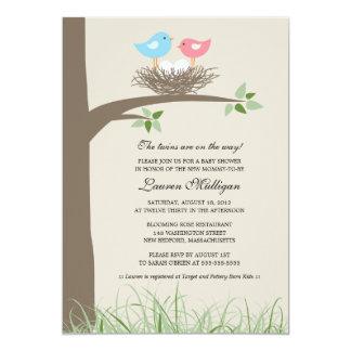 Twin Baby Bird's Nest Baby Shower Card