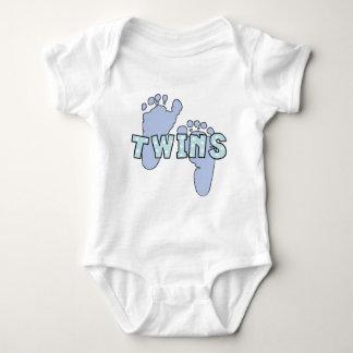 Twin baby boy footprints bodysuit