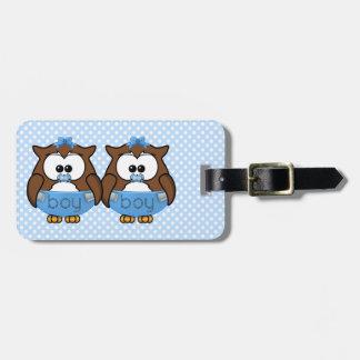 twin baby boy owl bag tag
