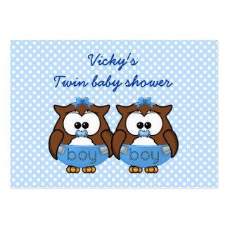 twin baby boy owl business card templates