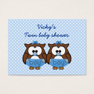 twin baby boy owl business card