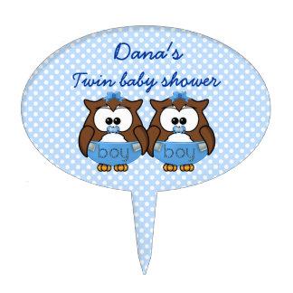 twin baby boy owl cake topper