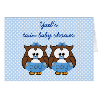 twin baby boy owl greeting cards