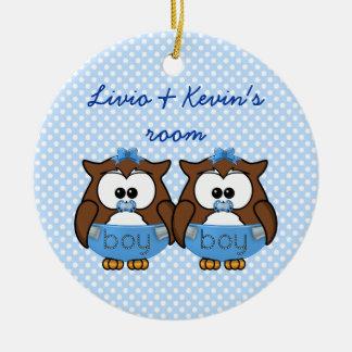 twin baby boy owl ceramic ornament