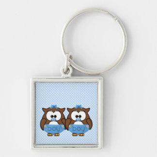 twin baby boy owl keychain
