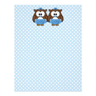 twin baby boy owl letterhead