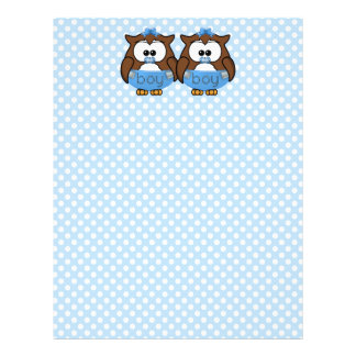 twin baby boy owl letterhead design