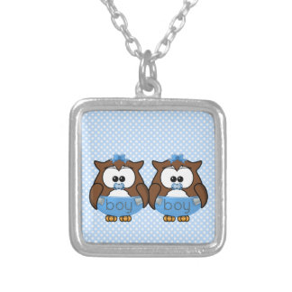 twin baby boy owl personalized necklace