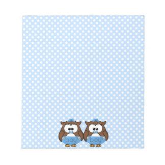 twin baby boy owl memo notepad