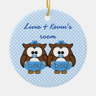 twin baby boy owl christmas tree ornaments