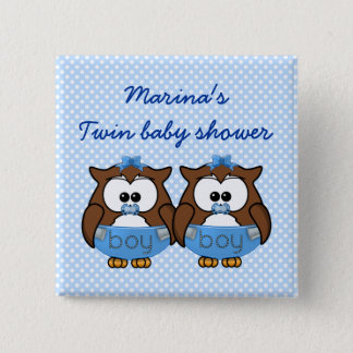 twin baby boy owl pinback button