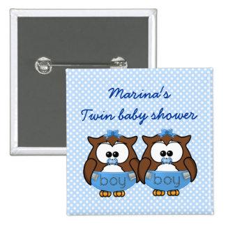 twin baby boy owl pinback button