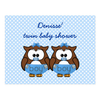 twin baby boy owl post cards