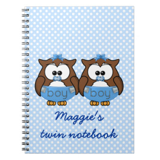 twin baby boy owl spiral notebook
