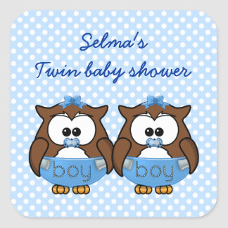 twin baby boy owl square stickers