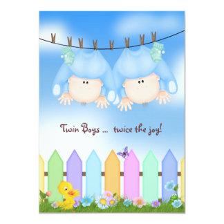 Twin Baby Boy Shower 4.5x6.25 Paper Invitation Card