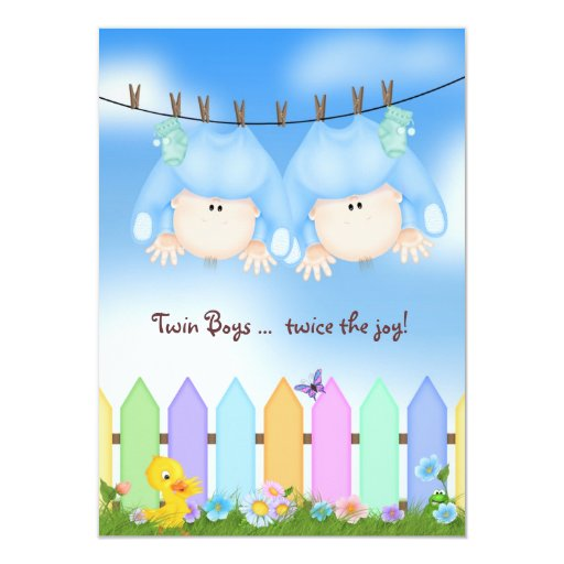 Twin Baby Boy Shower 4.5x6.25 Paper Invitation Card