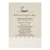 Twin Baby Boys Bird's Nest Baby Shower Announcement