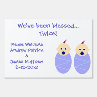 Twin Baby Boys Birth Announcement Sign