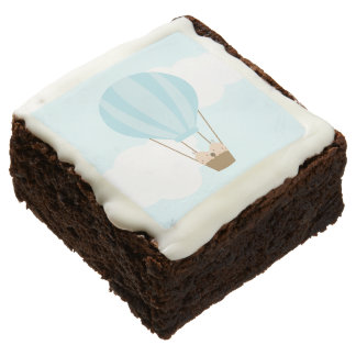 Twin Baby Boys in Hot Air Balloon Chocolate Brownie