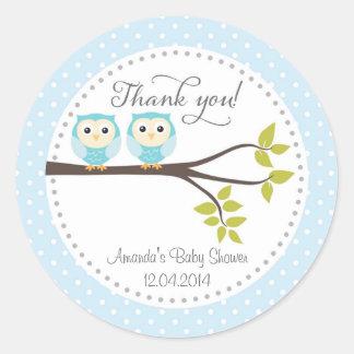 Twin Baby Boys Owls Baby Shower Sticker