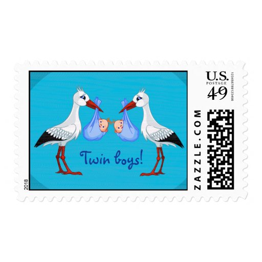 Twin Baby  Boys Postage Stamp