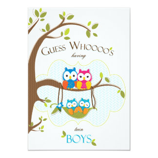 Twin Baby Boys Shower Invitation - Owl Family