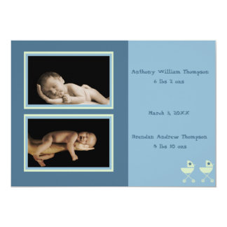 Twin Baby Carriages Birth Annoucement (blue) Card
