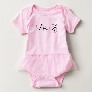 Twin Baby Clothing Pink Tutu 'Twin A' Bodysuit