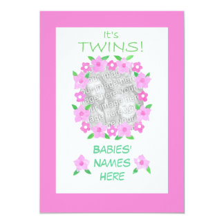 Twin Baby Daughter Announcement Photo Card