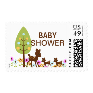 Twin Baby Deer Neutral Baby Shower  Postage
