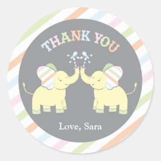 Twin Baby Elephant  |  Favor Sticker