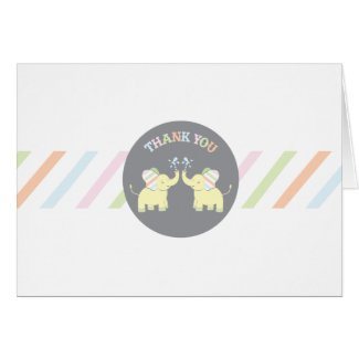 Twin Baby Elephants   Neutral Thank You Card