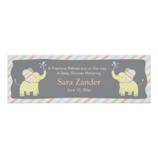 Twin Baby Elephants   Ping Banner Poster