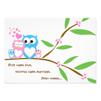 Twin Baby Girl and Boy Owl Baby Shower Invitation