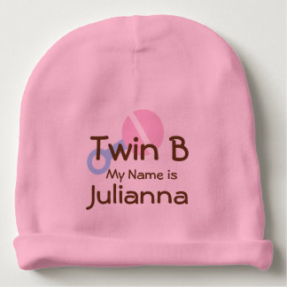 Twin Baby Girl Beanie Hat with Rattle
