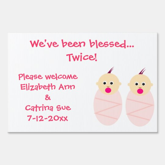 Twin Baby Girl Birth Announcement Sign