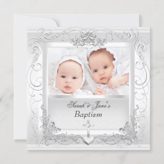 Twin Baby Girl Boy Christening Baptism White Announcement