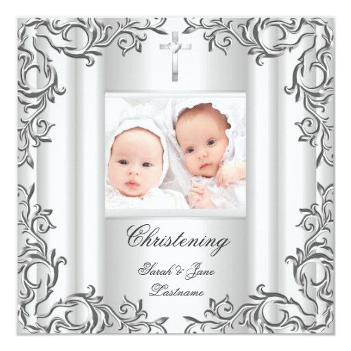 Twin Baby Girl Boy Christening Baptism White 5.25x5.25