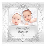 Twin Baby Girl Boy Christening Baptism White Invites