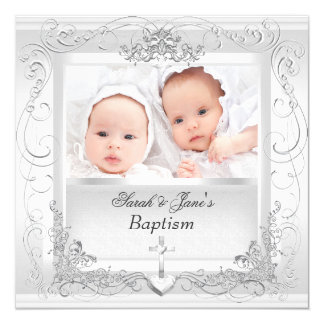 Twin Baby Girl Boy Christening Baptism White 5.25x5.25 Square Paper Invitation Card