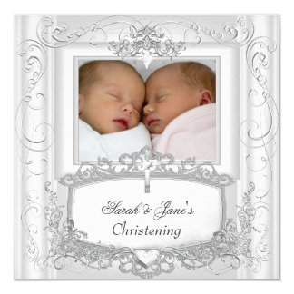 Twin Baby Girl or Boy Christening Baptism White Card