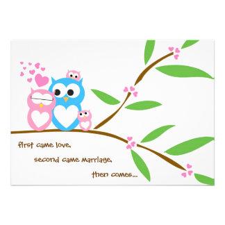 Twin Baby Girl Owl Baby Shower Invitation
